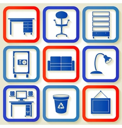 Set of 9 retro icons with office furniture vector