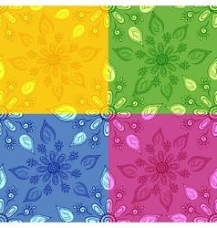 Set seamless floral backgrounds vector image