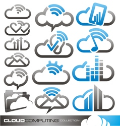 Cloud computing logo design concepts vector