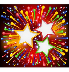 Brightly explosion paint background with stars vector