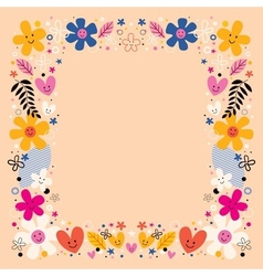 Flowers border frame vector