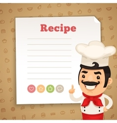 Recipe card with chef vector
