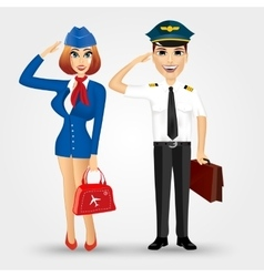 Beautiful stewardess and handsome pilot vector