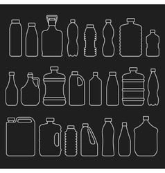 Line glass plastic bottles and other containers vector