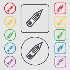 Pencil icon sign symbol on the round and square vector
