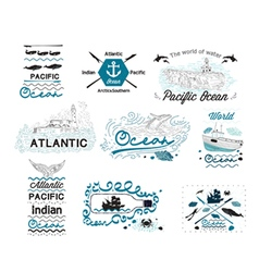 Set of vintage nautical labels logos and elements vector