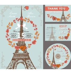 Wedding invitation setautumn leaves wreatheiffel vector