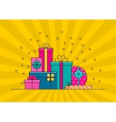 Big pile of colorful wrapped gift boxes vector