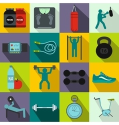 Gym icons set flat style vector