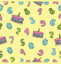 Birthday seamless pattern with cute numbers cakes vector