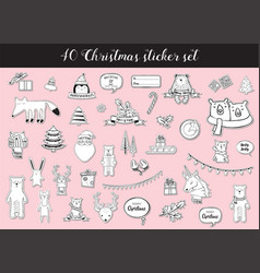 black and white christmas and winter sticker set vector image