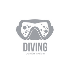 black and white graphic diving logo template with vector image vector image