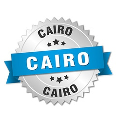 Cairo round silver badge with blue ribbon vector