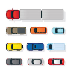 Cars various type top or above view set vector