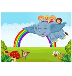 Cartoon little kid on the rainbow vector