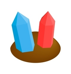 Crystals in earth 3d isometric icon vector