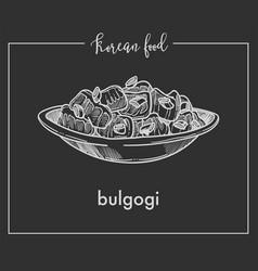 Delicious bulgogi in bowl from traditional korean vector