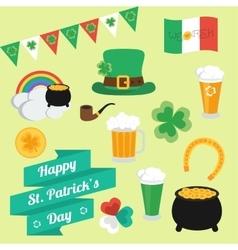 Flat elements on St Patricks Day Set Banner vector image vector image