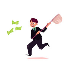 flat office worker man running for money vector image vector image