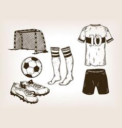 Football soccer equipment engraving vector