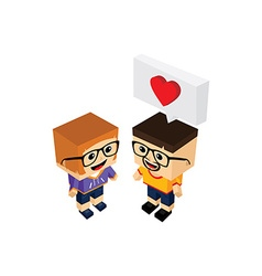 geek couple lover in romance love vector image