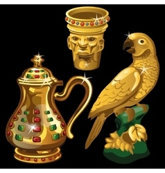 Golden vase jar and figurine parrot vector
