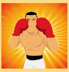 Grunge boxer in guard position vector