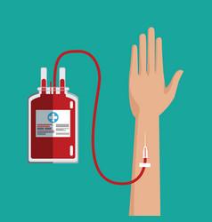 Hand transfusion blood bag vector