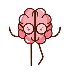 icon adorable kawaii brain with glasses vector image