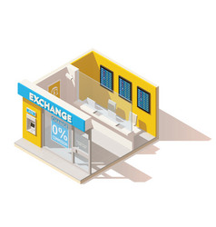 isometric low poly currency exchange vector image vector image