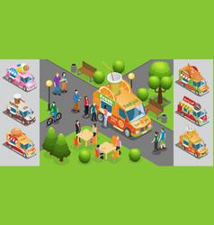isometric street food template vector image