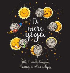 Moon is doing yoga solar eclipse cartoon vector