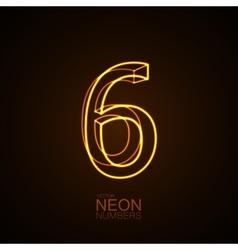 Neon 3D number 6 vector image vector image