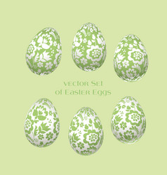 pale green easter egg decoration floral vector image