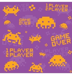Purple invaders pattern vector