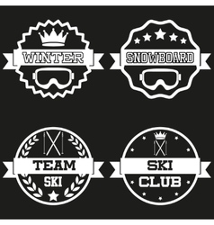 Set of Vintage SKI and Snowboard Club Badge Label vector image