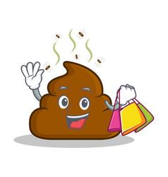 Shopping poop emoticon character cartoon vector