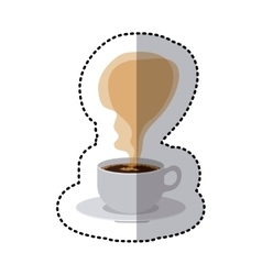 Sticker colroful porcelain cup coffee with smoke vector