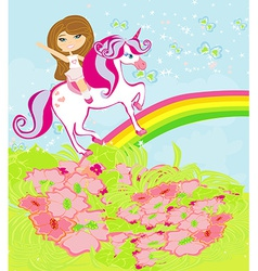 The girl who goes on the sky on a winged unicorn vector image vector image