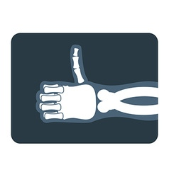 Thumbs up x-ray bones of hand shows all good vector