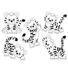 Tigers Set vector image vector image