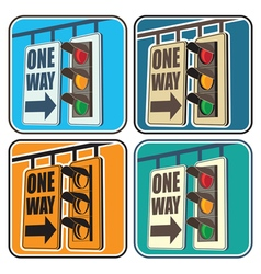 traffic lights and a sign vector image