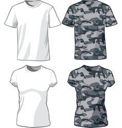 White and Military Shirts template vector image