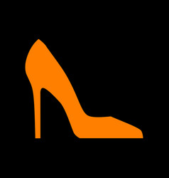 woman shoe sign orange icon on black background vector image vector image