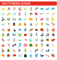 100 fitness icons set isometric 3d style vector