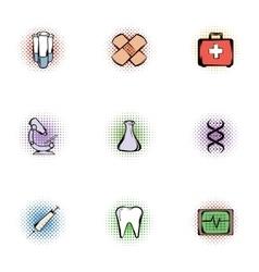 Medicine icons set pop-art style vector