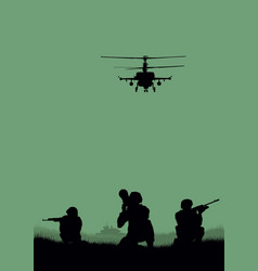 Soldiers going to attack and helicopters vector