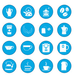 Tea and coffee icon blue vector