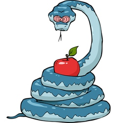 Biblical serpent with apple vector