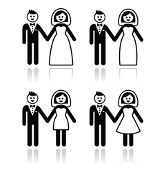Wedding married couple bride and groom icons set vector